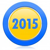 new year 2015 blue yellow icon new years symbol