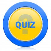 picture of quiz  - quiz blue yellow icon   - JPG