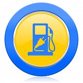 fuel blue yellow icon hybrid fuel sign