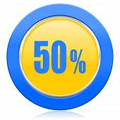 50 percent blue yellow icon sale sign