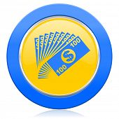 money blue yellow icon cash symbol