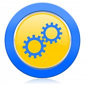 gears blue yellow icon options sign