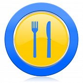 eat blue yellow icon restaurant sign