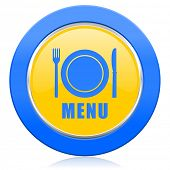 menu blue yellow icon restaurant sign