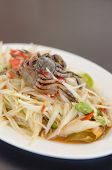 stock photo of green papaya salad  - spicy papaya salad with crab on dish asian spicy food