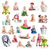 collage of beautiful and happy babies  with color toys on white background