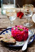 vinegret traditional Russian and the Ukrainian vegetable salad with beet