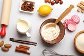 Food ingredients and kitchen utensils for cooking on white background