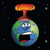 Nuclear weapon exploding on cartoon Earth