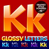 Vector set of glossy modern alphabet in different colors. Letter K. Also includes graphic styles