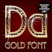Vector set of gold rich alphabet with diamonds. Letter D
