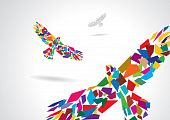 Colorful abstract bird flying