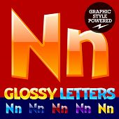 Vector set of glossy modern alphabet in different colors. Letter N. Also includes graphic styles