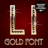 Vector set of gold rich alphabet with diamonds. Letter L