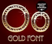 Vector set of gold rich alphabet with diamonds. Letter O