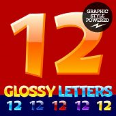 Vector set of glossy modern alphabet in different colors. Numbers 1 2. Also includes graphic styles