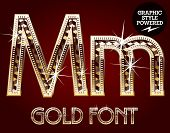 Vector set of gold rich alphabet with diamonds. Letter M