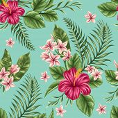 picture of hawaiian flower  - Tropical floral seamless pattern with plumeria and hibiscus flowers - JPG
