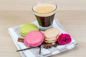 Macaroons with espresso coffee