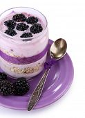 Healthy breakfast - yogurt with  blackberries and muesli served in glass jar, isolated on white