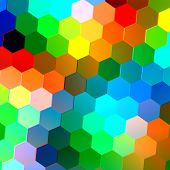 Abstract seamless background with colorful hexagons. Mosaic tile pattern. Geometric shapes.