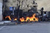 Protestor Near Ablaze Car