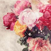 art grunge floral warm sepia vintage watercolor background with white, tea, yellow, purple and pink roses and peonies