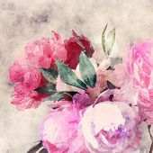 art grunge floral sepia vintage watercolor background with white and pink roses and peonies