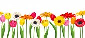 Horizontal seamless background with colorful flowers. Vector illustration.