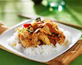 picture of thai cuisine  - thai panang red curry dish on green table cloth - JPG
