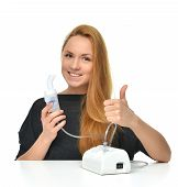 pic of asthma  - Young woman using nebulizer for respiratory inhaler Asthma Treatment isolated on a white background - JPG