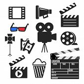 Set Of Cinema Web And Mobile Icons. Vector.