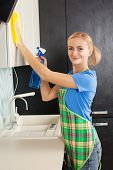 Woman cleaning kitchen. Female doing housework