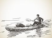 Sketch of kayaking man, Hand drawn Vector illustration