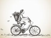 Sketch of girl with basket on bicycle Vector illustration