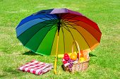 Rainbow Umbrella And Picnic Basket