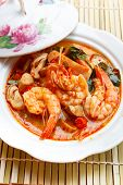 picture of thai cuisine  - Tom Yum Goong spicy soup with shrimp  - JPG