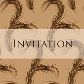 Vector wallpaper seamless. Invitation. Peacock Feather.  Fashion