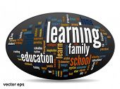 Vector concept or conceptual 3D oval or ellipse education abstract word cloud on white background