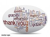Conceptual thank you word cloud isolated for business or Thanksgiving Day
