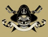 picture of skull cross bones  - Illustration of pirate skull with crossed sabers - JPG