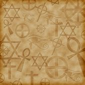 stock photo of dharma  - Abstract background with ancient symbols of different religions - JPG