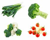 Fresh cauliflower and broccoli , Green Onion and Cherry tomatoes and Greek cheese isolated on white