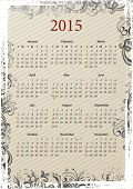 American Vector beige floral grungy calendar 2015, starting from Sundays