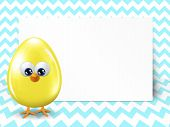 Easter Egg And White Blank Over Chevron Background
