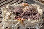 Basket Of Knitting And Yarns On A Bench