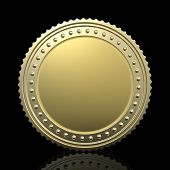 gold coin isolated on black background