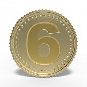 Golden number 6 isolated on white background