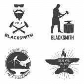 picture of blacksmith shop  - Vintage monochrome blacksmith badges and design elements - JPG