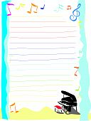piano theme letter note paper